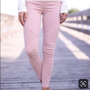 Beulah moto pants in pink